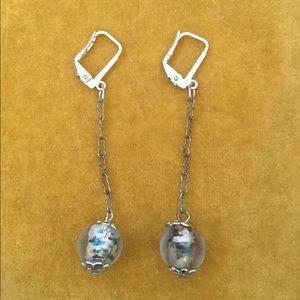 Vintage glass bead drop earrings